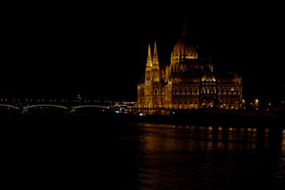Budapest parliament in the dark