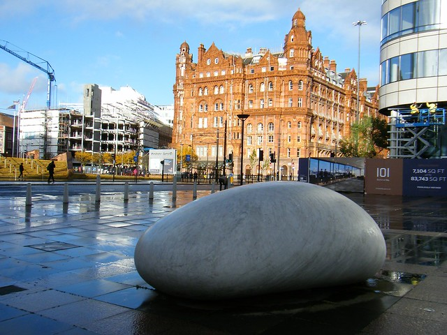 Manchester = Touchstone Installation with The Midland Hotel in background