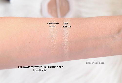 Fenty Beauty Killawatt Freestyle Highlighter Duo Lightning Dust + Fire Crystal swatches | by <Nikki P.>