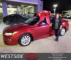 Congratulations Tamara on your #Kia #Optima from Jason Taylor at Westside Kia!