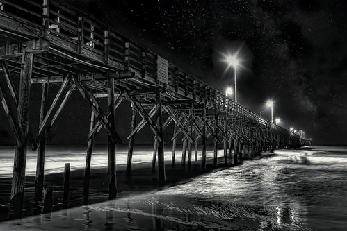 ocean sea pier fishing dark night bw atlantic north carolina topsail beach sand surf