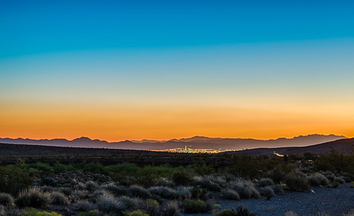 hdr lasvegas mojavedesert nevada nikon nikond5300 outdoor redrockcanyonnationalconservationarea blue city desert geotagged horizon landscape morning mountains orange sky sunrise unitedstates