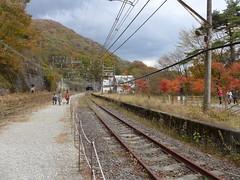 横川~軽井沢間の旧熊ノ平駅。一部が保存されるとともに、「アプトの道」と呼ばれる散策路として整備されている。