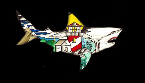 Bull shark painting/ Where civilization meets the waterline. H.S.T