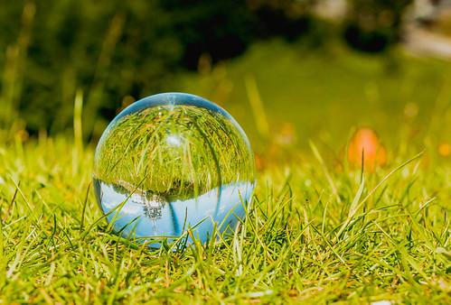 Glass ball laying in grass   by wuestenigel