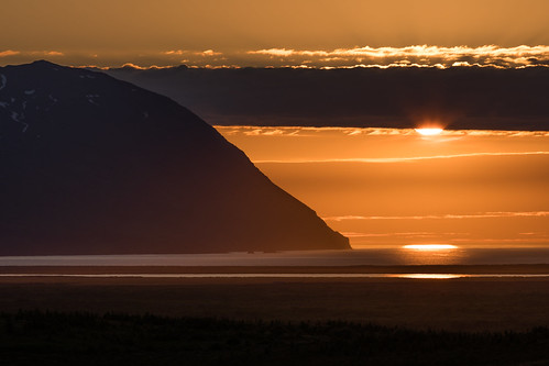 landscape seascape sea mountain clouds coast evening sun sunset island norðurlandeystra is