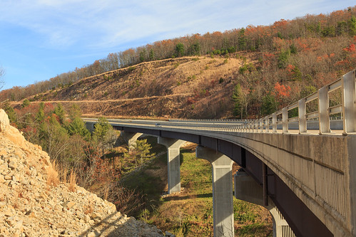 wv afternoon autumn bridge country day daylight fall freeway highway infrastructure landscape rural sun sunny wideangle wardensville westvirginia unitedstates us route 48 corridorh