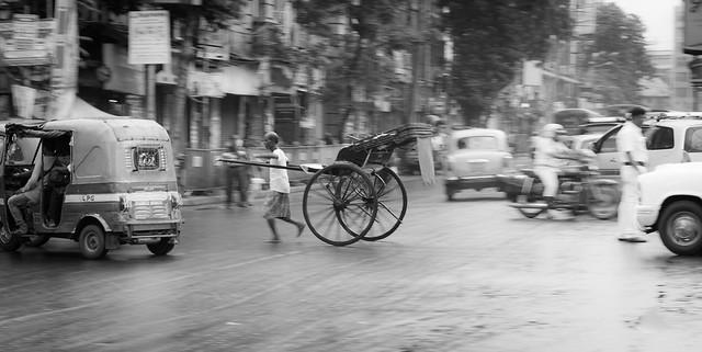 hand pulled rickshaw, Calcuta.