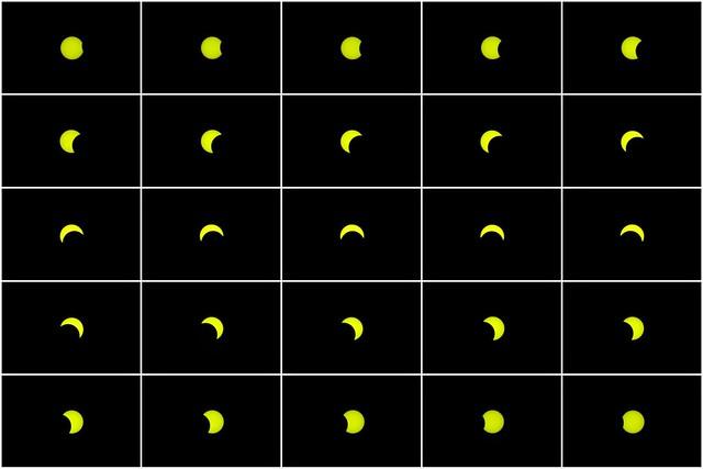 Éclipse Solaire à Sandbanks Provincial Park. 2017 08 21 13:24 à 15:45