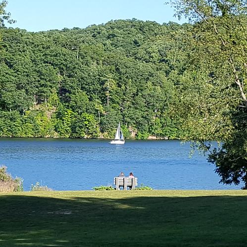 lake water boat sailboat square