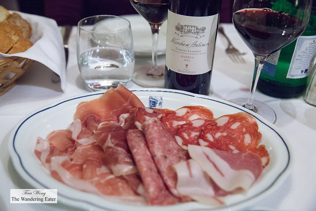 Salami and ham plate with our bottle of Antinori Marchese Chianti Classico Riserva 2011