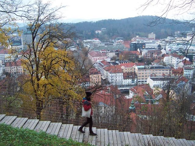 Walking down into Ljubljana from the castle