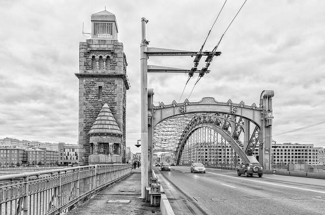 Saint Petersburg, Russia. A tower and an arch of Bolsheokhtinsky bridge.