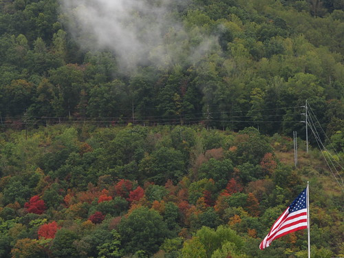 flag mountains hills mist erwin tennessee