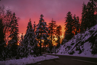 1990 Christmas Roll - 09 - Solstice sunset drive with Matt - Sierra National Forest Highway 168 Fresno County California | by niiicedave
