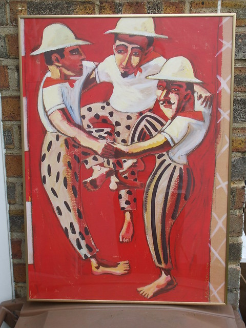 Lovely Colourful Picture of Three Dancing Men Ashley Potter 1990 ?