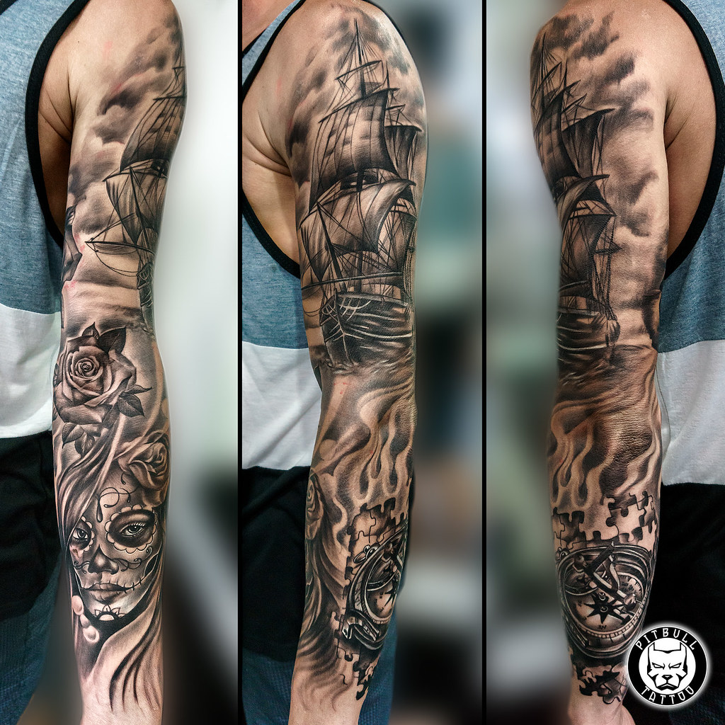 Full Sleeve Black Grey Realistic Tattoo Instatattoo