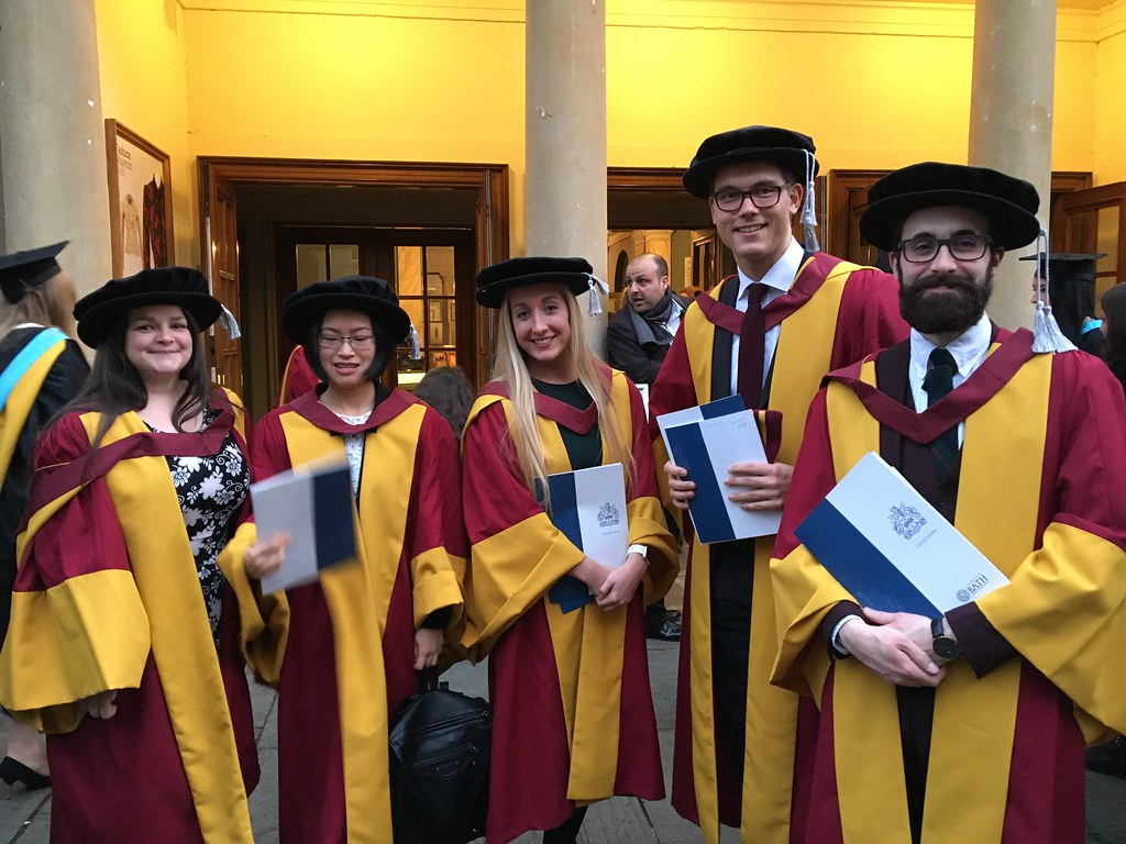 A group of University of Bath doctoral students at their graduation ceremony