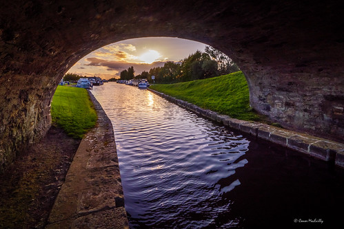 shannon harbour grand canal offaly ireland sunset evening boating boats bridge troll wide angle