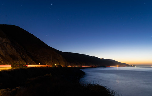 california nikon nikond5300 pch pacificcoasthighway pacificocean pointdume santamonicalmountains beach coast dawn geotagged highway lightstream lighttrails lights longexposure morning mountain ocean road seascape shoreline sky sunrise water malibu unitedstates stars