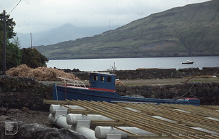 Mussel raft and ropes with crossbars. Killary Bay, Achill Island, Inishboffin 1986