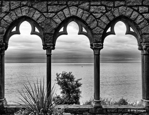 hammondcastle atlanticocean ocean castle sea view viewpoint stone columns gloucester massachusetts bw blackandwhite monochrome canon eos 7d slr outdoor architecture water essexcoastalscenicbyway