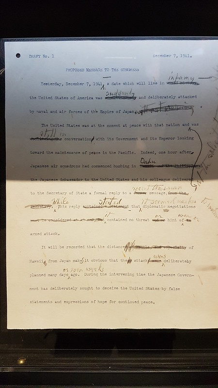 The infamy speech draft Pearl Harbour