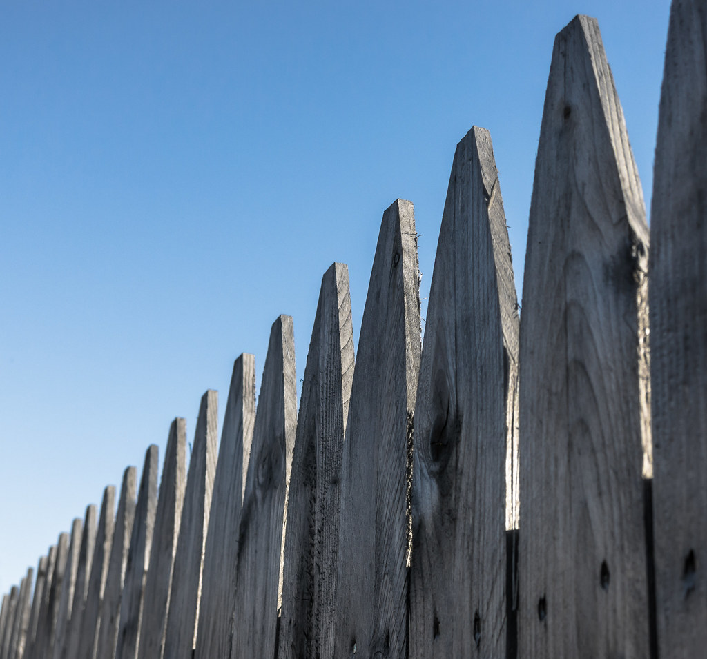 Wooden Fence Spikes | Along the rail trail near Hurleyville