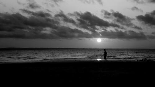 bw beach people figure silhouette clouds waterscape ocean sunset horizon thirds light dark olafur elaisson