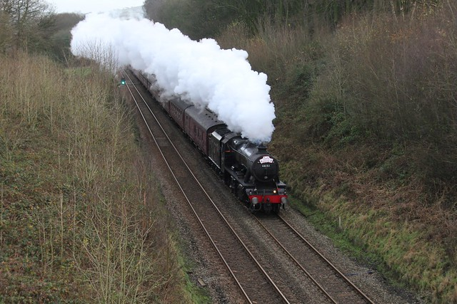 WCR LMS 8F No. 48151 with 1Z60 'Santa Special' on 3rd December 2017 nears the top of  1 in 110 Hoghton  Bank heading towards Preston. ©