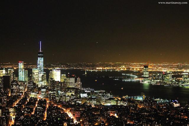 Lower Manhattan e il New Jersey dall'Empire State Building