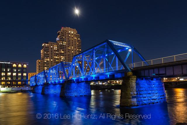 Blue Bridge at Night in Grand Rapids