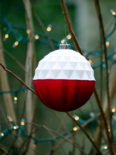 Giant red - white Christmas ball.
