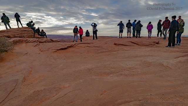 Stormy Sunset Hiker's On The Rim of Horseshoe Bend (We Hope) 0.8 mile hike (3266) Colorado River Page, AZ 11-26-2016.