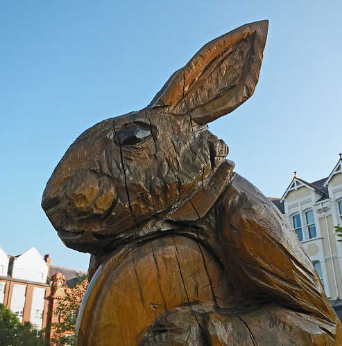 A Statue of the White Rabbit from Alice in Wonderland in Llandudno, Wales