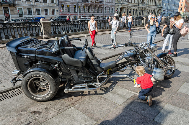 A cool bike parked on the Griboyedov canal embankment.
