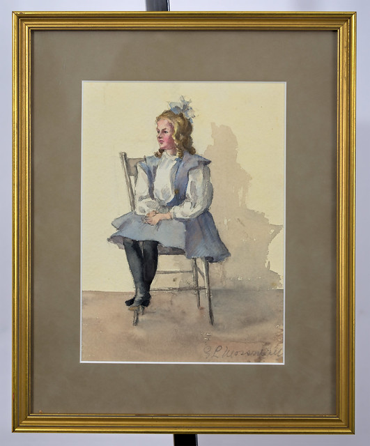 Watercolor of a child sitting on chair