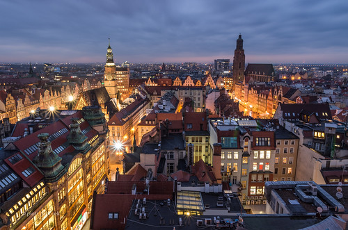 wroclaw city oldtown silesia lower poland polish towers architecture cityscape skyline evening twilight old night nightfall sky cloudy sunset tower pietkagab photography pentax piotrgaborek pentaxk5ii travel trip tourism sightseeing europe european dusk