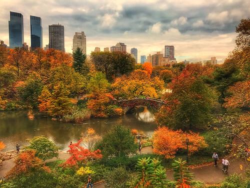 centralpark manhattan newyorkcity newyork nyc ny fall foliage fallfoliage autumnal autumn thepond gapstowbridge timewarner timewarnercenter iphoneography iphonenography snapseed