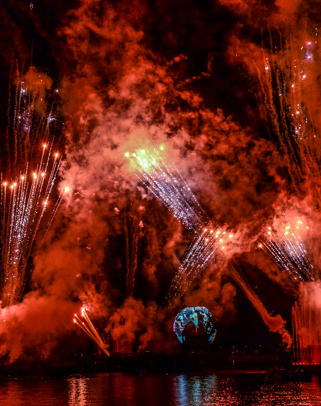 Orange globe Illuminations Epcot