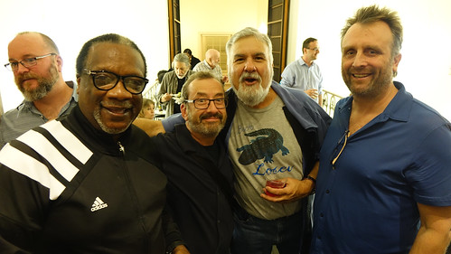 DJ Swamp Boogie, The Creeper, Ron Phillips, AJ Rodrigue, George Ingmire at WWOZ's birthday bash - Dec. 4, 2017. Photo by Tom Roche.
