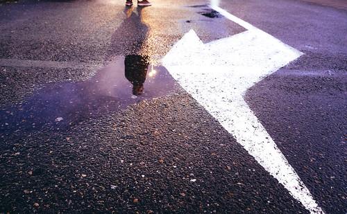 people reflection water arrow sunset antwerpen