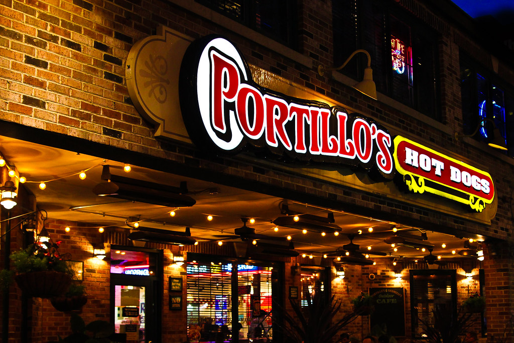 Portillo's Hot Dog Sign in Chicago