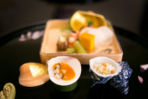 Sea bream pickled in spicy sauce, shrimp with miso paste, egg and fish cake, beef, fuki stuffed in plum sauce, fukimoto mixed with tofu, shiitake mushroom and sea cucumber inside | by City Foodsters