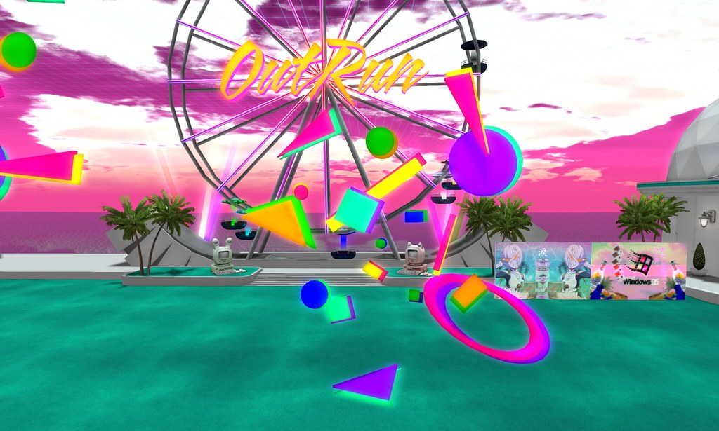 OUTRUN FERRIS WHEEL AND 80S GEOMETRIC SHAPES