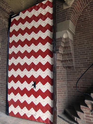 A red and white door at the Kasteel de Haar near Utrecht, Holland