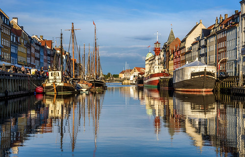 city trip travel blue summer sky reflection tourism water architecture port buildings copenhagen denmark boats photography evening nyhavn canal warm europe colours pentax capital adventure backpacking atmospheric k5 canalside newharbour citybreak pentaxk5ii pietkagab piotrgaborek