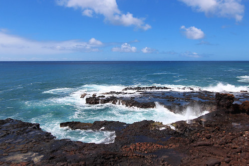 volcanic coast kauai hi hawaii september 2016 landscape lava spouting horn park ocean ハワイ 風景