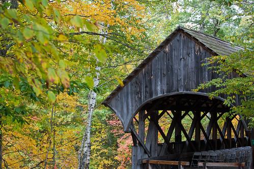 usa maine bethel sundayriver fall autumn red yellow orange trees river bridge coveredbridge artistsbridge