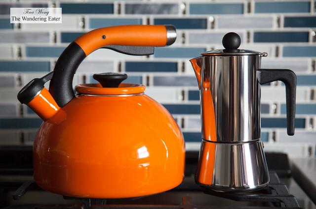 Circulon 1.5-Quart Sunrise Teakettle and BonJour 4-Cup Stovetop Espresso Maker